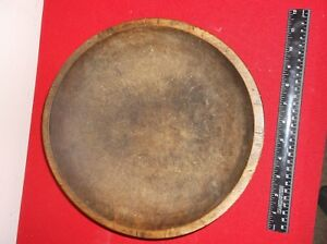 Antique Original C1800s Large Hand Made Turned Wooden Bowl Great