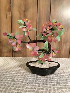 Vintage Asian Oriental Glass Bonsai Tree With Pink Flowers Jade Green Leaves