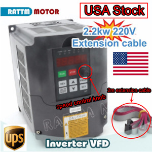 usa Stock 2 2kw 3hp 220v 3 Phase Variable Frequency Drive Inverter Vfd 2m Cable