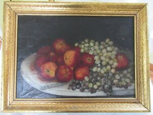 Big Antique Victorian Oil Painting Still Life Frame Folk Art Primitive Country