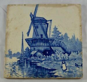 Vintage Dutch Delft Blue White Ceramic Painted Art Fireplace Tile