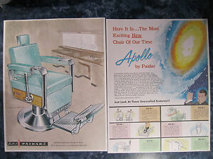 Vintage 1960 Paidar Barbershop Apollo Chairs 2 Pg Wild Color Drawing Sign Ad
