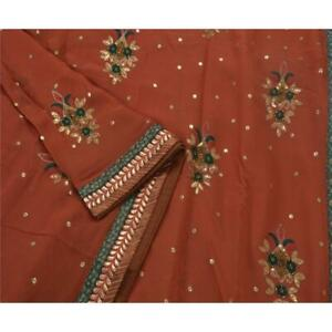 Tcw Vintage Indian Saree Blend Georgette Hand Beaded Fabric Cultural Sari