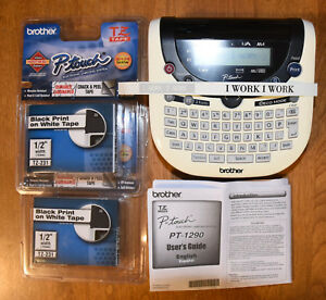 Brother P touch Portable Label Maker Pt 1290 2x New Tapes Tz 231 Great Shape