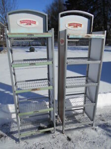 2 Used Commercial Pepperidge Farms Metal Display Racks W 5 Shelves