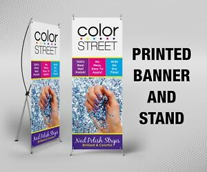 Color Street Banner With X Stand 24 X 63 Printed Full Color
