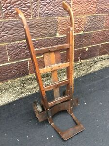Well Made Heavy Antique Wood Metal Hand Truck Dolly Very Good