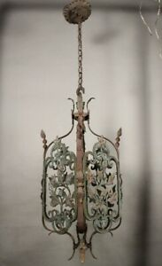Spanish Revival Antique 1920 Large Pendant Light Made Of Bronze And Iron 11785