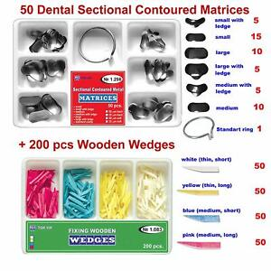 50 Of Dental Sectional Contoured Matrices Matrix 200 Wooden Wedges
