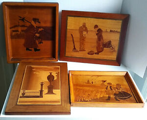 Set Of 4 Vintage Inlaid Wood Marquetry Handcrafted Pictures Arts Crafts