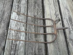 Old Vtg Antique Metal Hay Pitch Fork Head Farm Garden Tool Prong Primitive