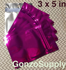 250pc Pink Clear 3x5 Zip Lock Mylar Bags merchandise Organization Snacks Seeds