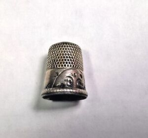 Antique Vintage Sterling Silver Shield Simons No Monogram Thimble Size 11