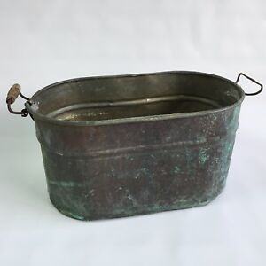 Antique Copper Bucket Boiler Wash Tub Beautiful Patina