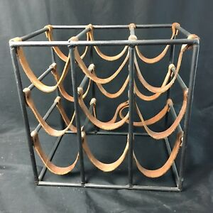 Excellent Arthur Umanoff Iron And Leather Wine Rack 9 Bottle