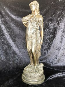 Antique Spelter Bronze Lady Grecian Beauty Note The Detail 20 Inches