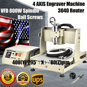 4axis 3040 Cnc Router Engraver Engraving Milling Machine 800w Spindle Ballscrews