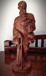 Vintage Hand Carved Barefoot Man With Walking Stick Height 17