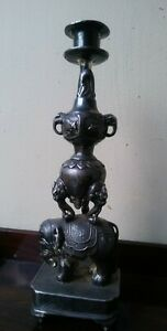 Rare Signed Antique Chinese Japanese Sterling Silver Candlestick Elephant Dragon