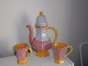 Karen Peters Ceramic Coffee Tea Set Pot With 2 Mugs Colorful Whimsical