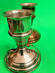 Pair Of F B Rogers Silverplate Candlesticks With Drip Guard