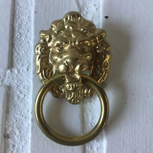 Euc Solid Brass Lion Head Single Post Ring Drawer Pull With Hardware 2 5 X 1 5