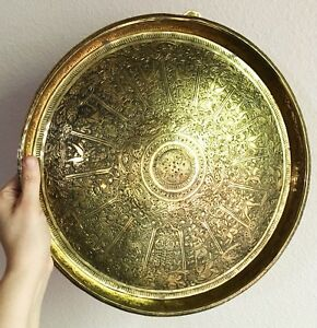 Antique Indian Brass Convex Tray Wall Hanging Engraved Hindu Design Early 20th C