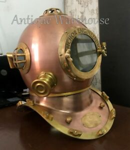 Handmade Nautical Anchor Engineering Copper Divers Helmet By Antique Warehouse