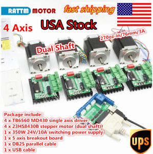 4 Axis Cnc Kit Nema 23 76mm Stepper Motor 270oz in Driver dc Power Supply us