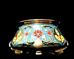 Barbedienne Signed Bronze And Champleve Enamel Footed Small Bowl Circa 1880s