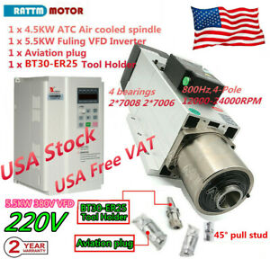 4 5kw 220v 380v Bt30 Automatic Tool Changer Atc Air Cooled Spindle Motor W Vfd