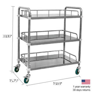 Hospital Medical Lab Dental Cart Three Layer Serving Trolley Stainless Steel Udd