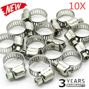 10x 3 8 5 8 Stainless Steel Drive Hose Clamp Fuel Line Worm Clip Adjustable