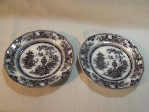 Two Antique 1840 Mulberry Jeddo Transfer Ware 7 1 2 Plates By W Adams