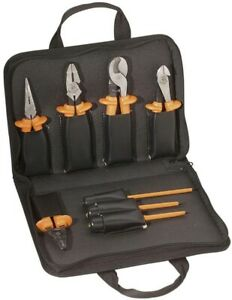 Insulated Electrical Tool Set Screwdriver Long Nose Pliers Storage Case 8 piece