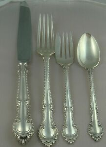 Gorham English Gadroon Sterling Silver Dinner Size Four 4 Piece Setting