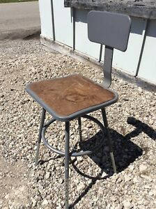 Vintage Interroyal Corp Metal Industrial Stool Adjusts 18 To 25 Very Good