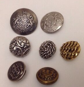 Lots Of Vintage Mix Metal Heavy Buttons
