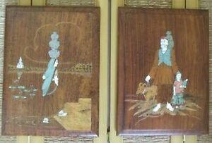 2 Wood Marquetry Wall Hanging India Middle Eastern Asian Inlay Inlaid Decor