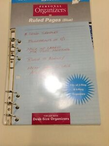 Planner Note Pages Blue Lined For 3 Or 6 Ring Binder 5 5 X 8 5 30 Sheets New