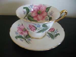 Shelley Pink Clematis Flower Tea Cup And Saucer