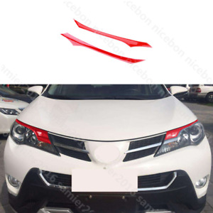 Red Pvc Brow Truck Parts Front Head Light Cover Fit For Toyota Rav4 2013 2015