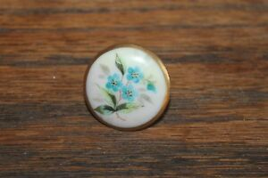 Antique Floral Porcelain Button