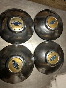 Vintage 49 50 Chevy Dog Dish Hubcaps Set Of 4 Lot 1003