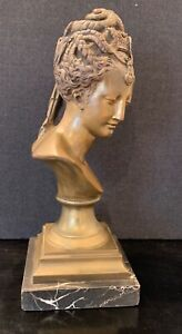 Nice Late 19th Century Early 20th Century Bronze Marble Classic Female Bust