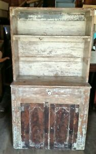Antique Country Pine Kitchen Cupboard Open Shelves On Top 2 Doors On Bottom Refi