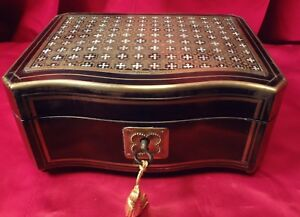 Fantastic Tahan Mop And Chased Brass Serpentine 3 Tune Musical Jewel Box