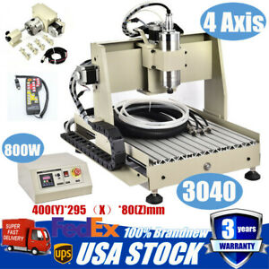 4axis 3040 Cnc Router Engraving Milling Machine Engraver Woodworking 800w Vfd Rc