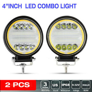 2x 4 inch Led Work Light 144w Round Spot Flood Driving Fog Lamp Suv Atv Offroad
