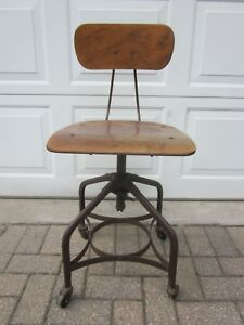 Uhl Toledo Drafting Stool Chair Steam Punk Industrial Wood Steel Antique Vintage